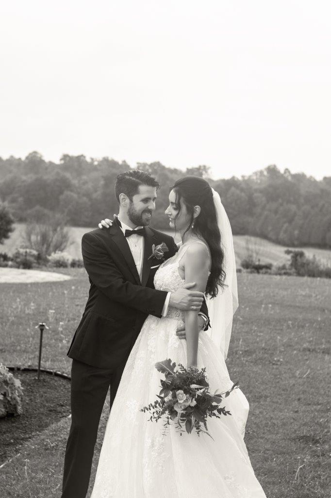evermore weddings bride groom outdoors bw