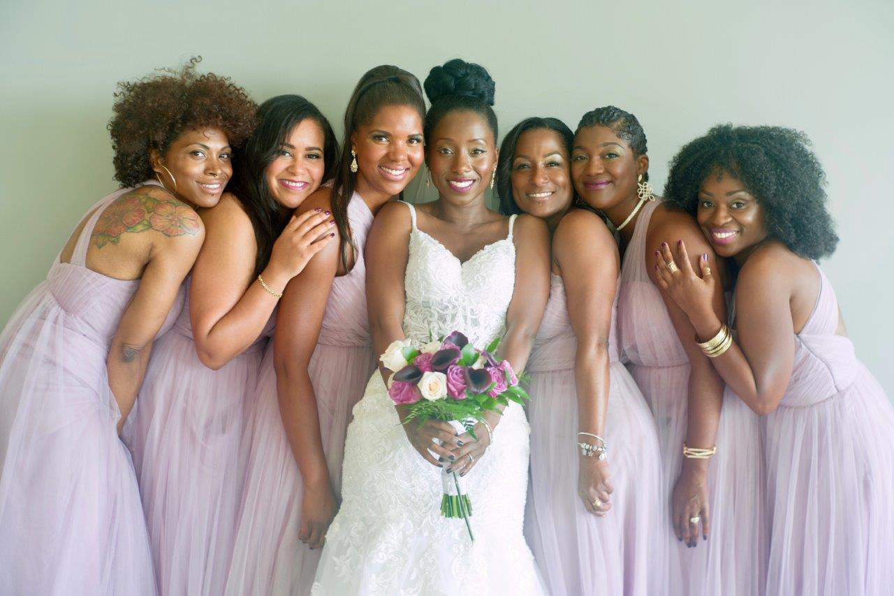 kathi robertson wedding le belvedere bridal party posed