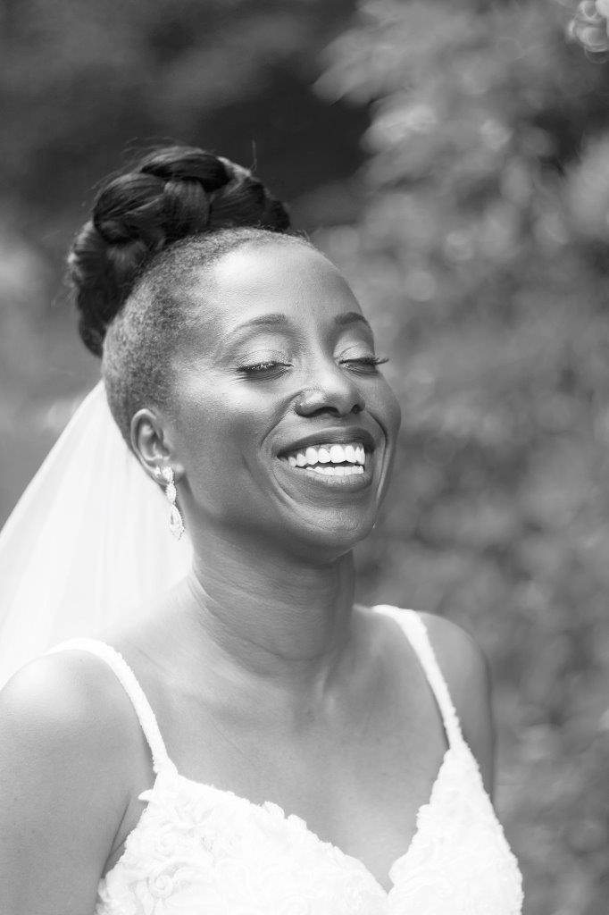 kathi robertson wedding le belvedere bride smiling bw