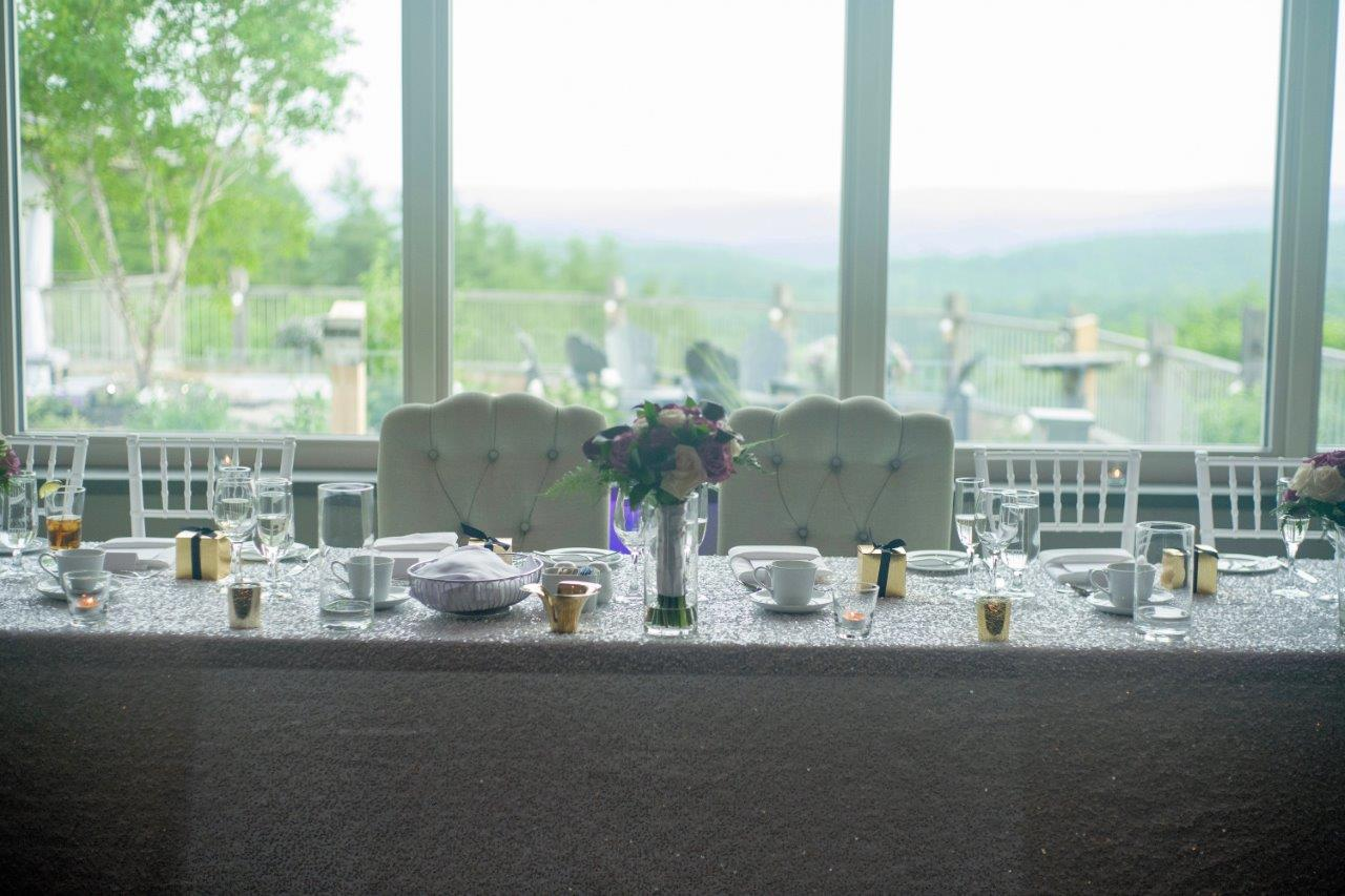 kathi robertson wedding le belvedere head table setup shot