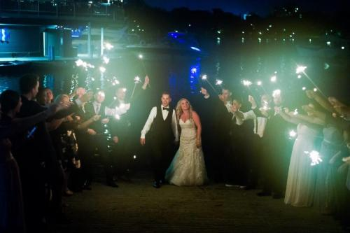 bride groom guest sparklers at night